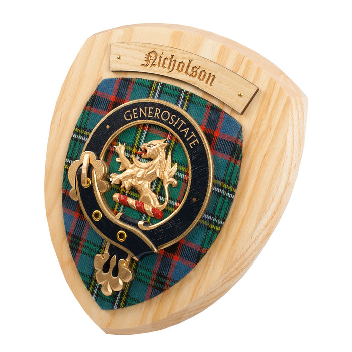 Clans Of Scotland Wooden Crested Wall Plaque Ish Tartan Crests Nicholson