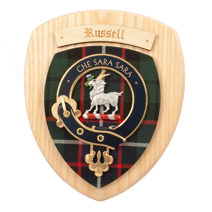 Clans Of Scotland Wooden Crested Wall Plaque Ish Tartan Crests Russell