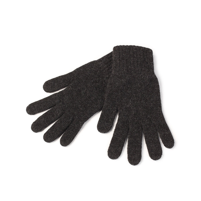 WOMEN'S 2-PLY CASHMERE KNITTED FASHION ADIES GLOVES 14-Charcoal