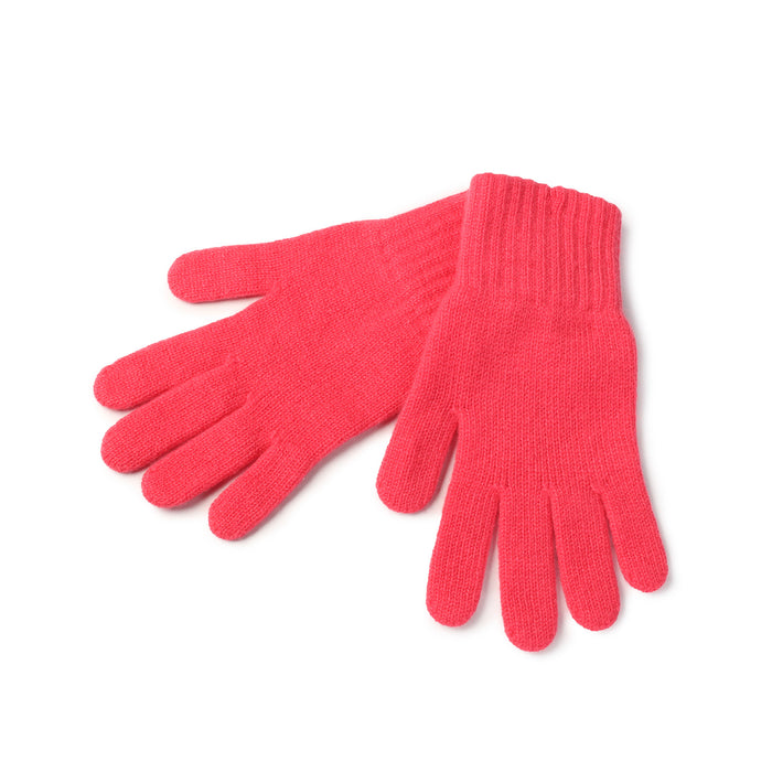 WOMEN'S 2-PLY CASHMERE KNITTED FASHION ADIES GLOVES 8-Fushia