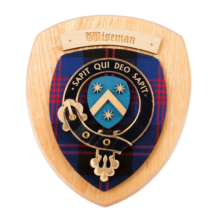 Clans Of Scotland Wooden Crested Wall Plaque Ish Tartan Crests Wiseman
