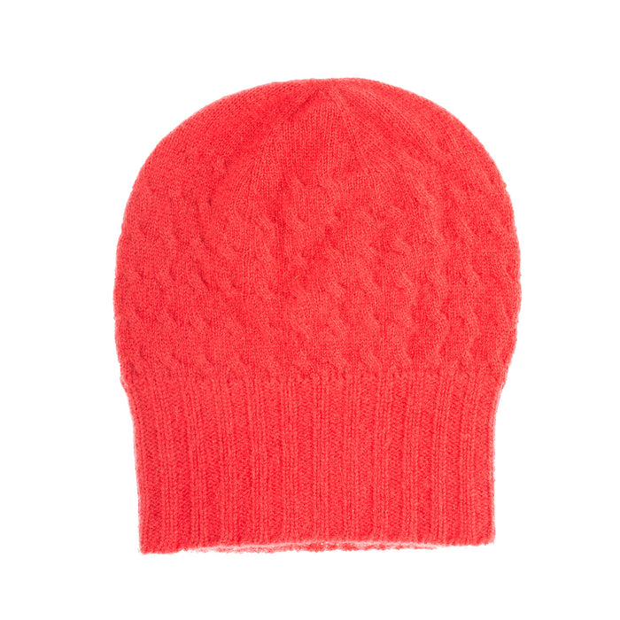 Cashmere Warp Cable 2-Ply Beanie Hat  19-Raspberry