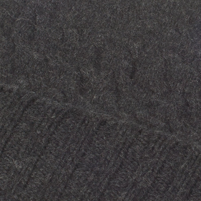 Cashmere Warp Cable 2-Ply Beanie Hat  14-Charcoal