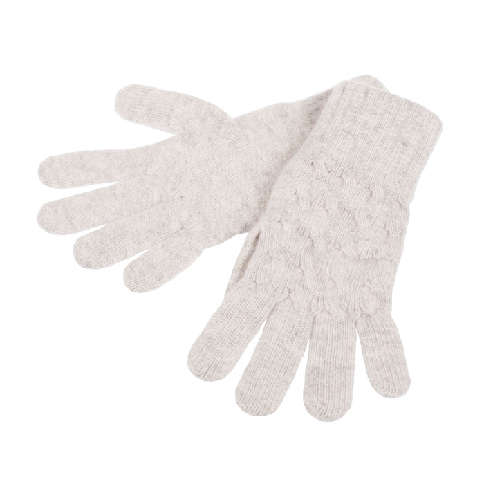 Women's 2-Ply Warp Cable Cashmere Glove  5-Light Grey