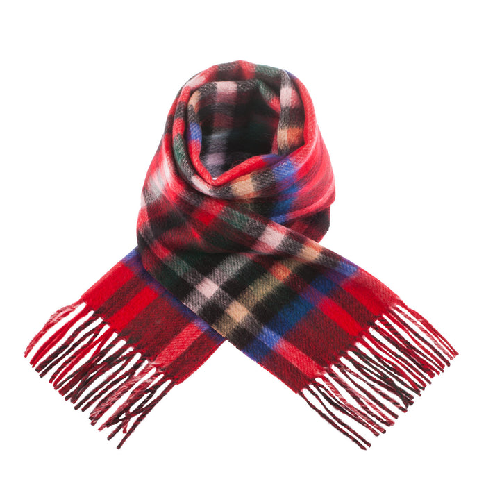 Edinburgh Lambswool Double Faced Scarves Exploded Stewart Royal/Cardinal