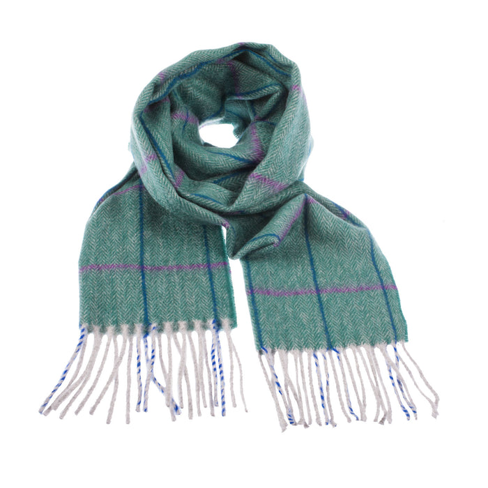 Cashmere Windowpane Herringbone Check Scarf Green