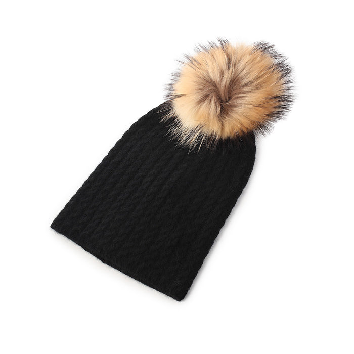 Cable Cashmere Pom Pom Black