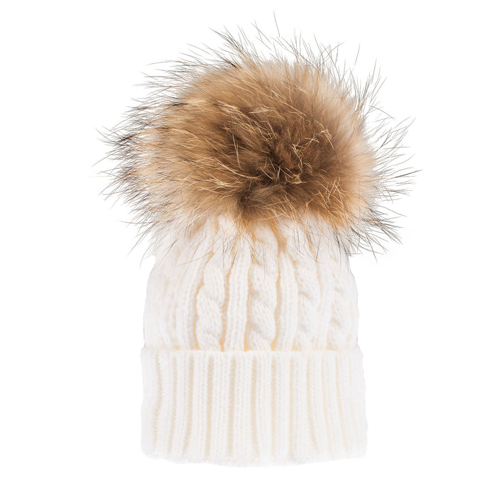 Women's Cable Pom Pom Hat  Winter White/Natural