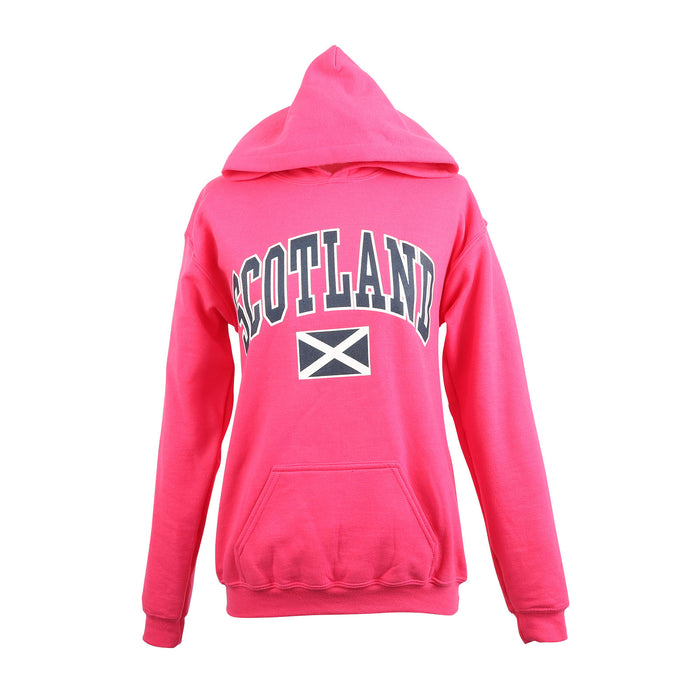 Kids Scotland Harvard Print Hooded Top Heliconia