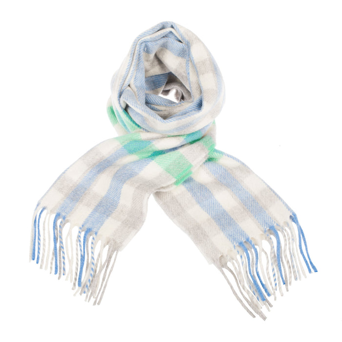 100% Cashmere Scarf Made In Scotland Green