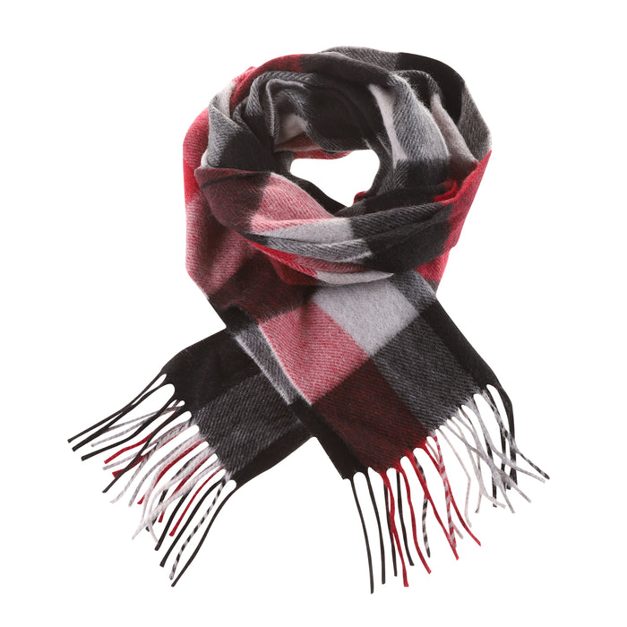 Tartan Weaving Mill 100% Cashmere Scarf  Cubes Red