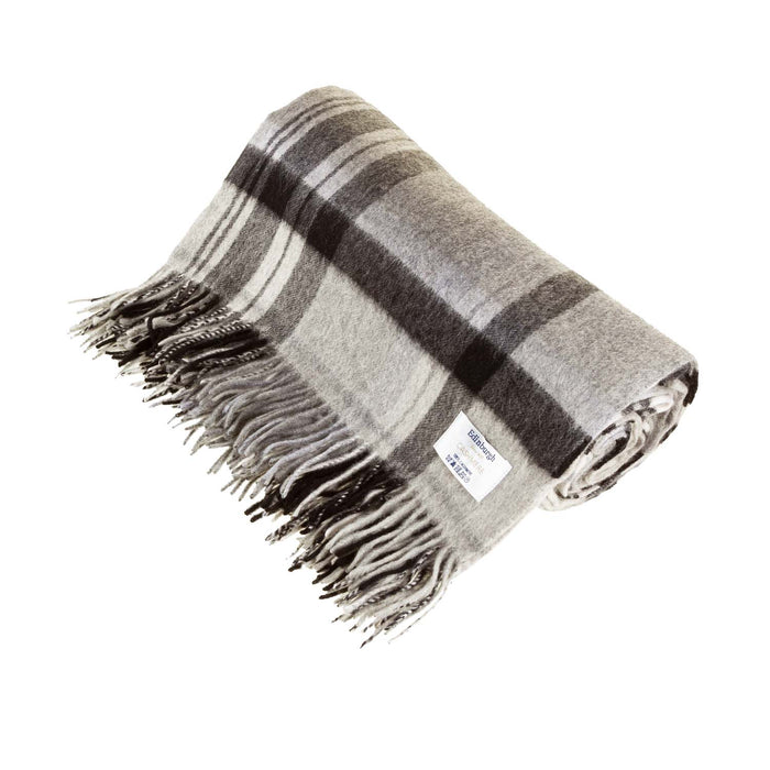 100% Cashmere Blanket Molton Check Black
