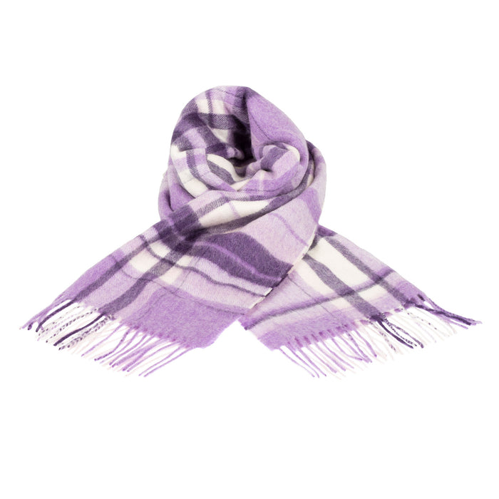 Edinburgh 100% Cashmere Wide Scarf  Newland Check Purple 32927