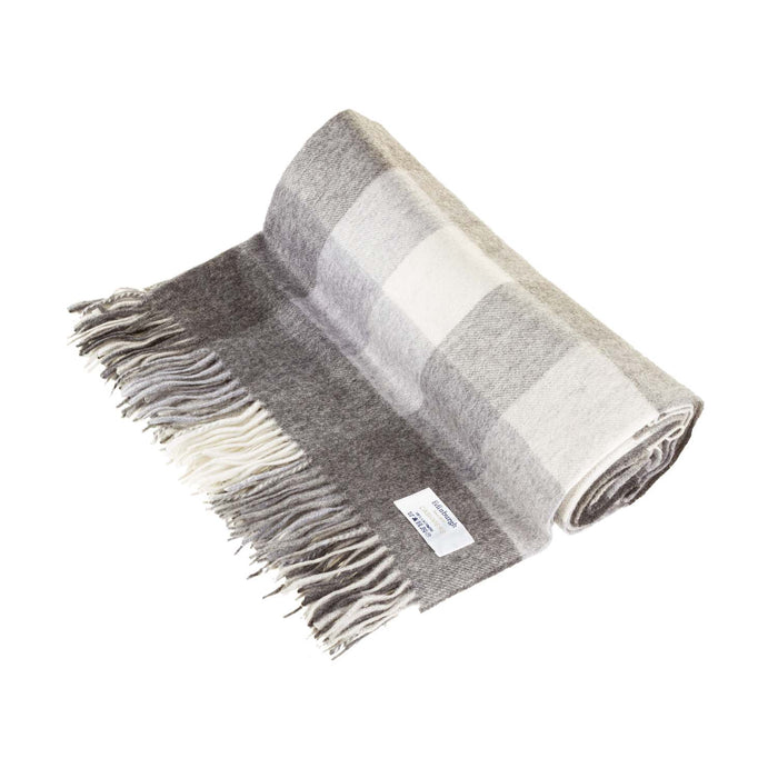 100% Cashmere Blanket 5 Square Check Grey