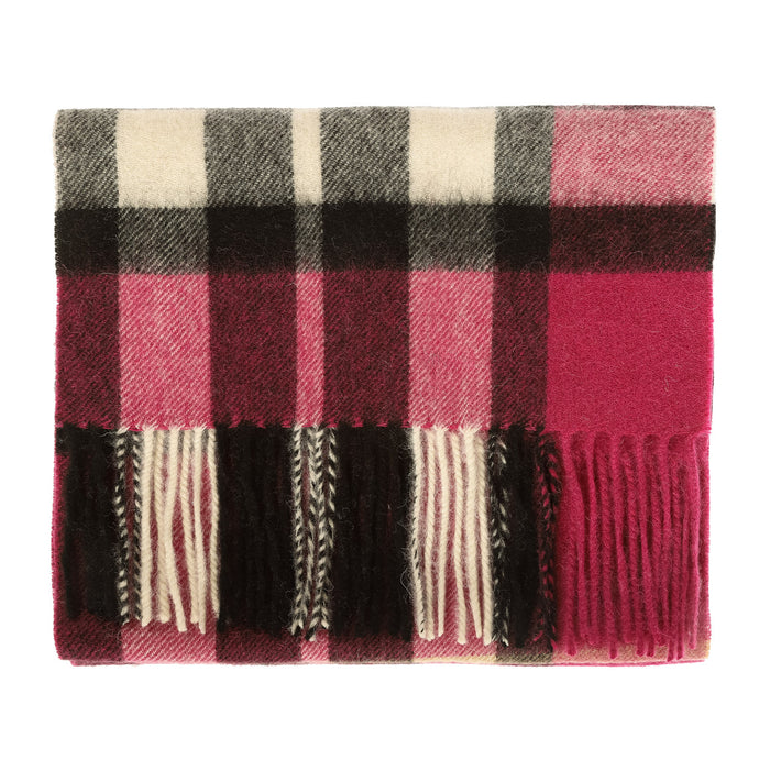 Edinburgh 100% Lambswool Scarf  Exploded Scotty Thomson Raspberry