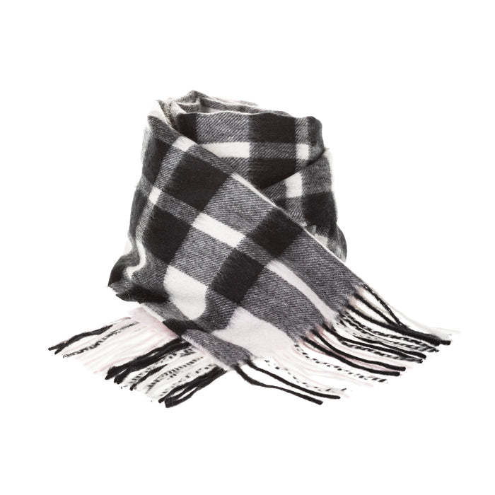 Edinburgh 100% Cashmere Unisex Scottish Tartan Multicolor Scarf Exploded Scotty Thomson Lt Pink