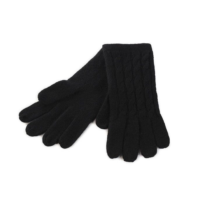 Women's 100% Cashmere Cable Gloves  Black