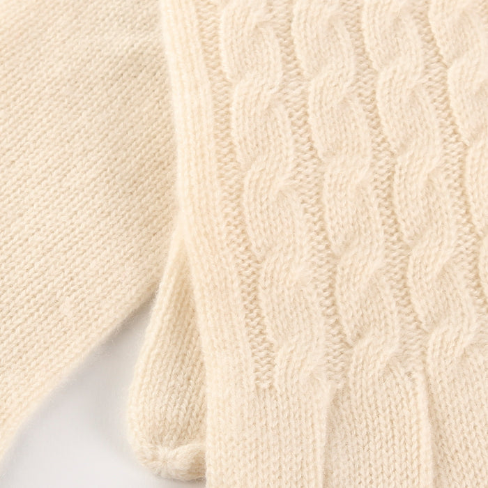 Women's 100% Cashmere Cable Gloves  Optic White