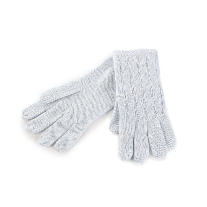 Women's 100% Cashmere Cable Gloves  Baby Blue