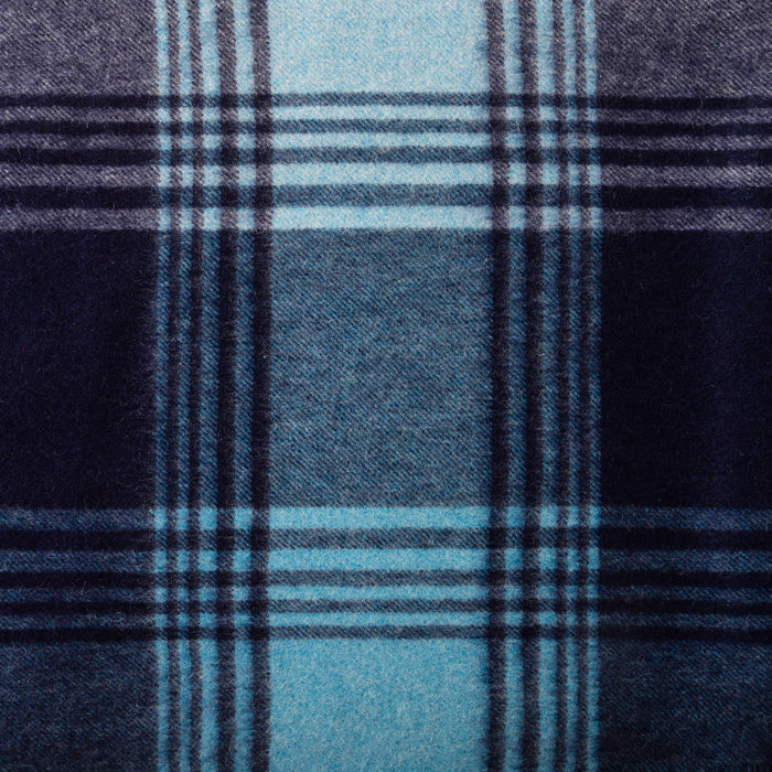Edinburgh 100% Cashmere Wide Scarf  Broken Check - Cyan/Navy