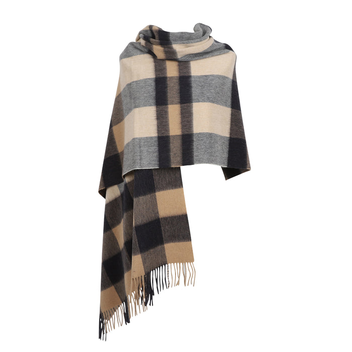 Edinburgh Lambswool Stole  Bursted Check Neutral/Navy