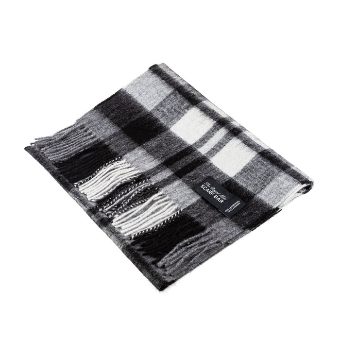 Chequer Tartan 90/10 Cashmere Scarf Bar  Exploded Black
