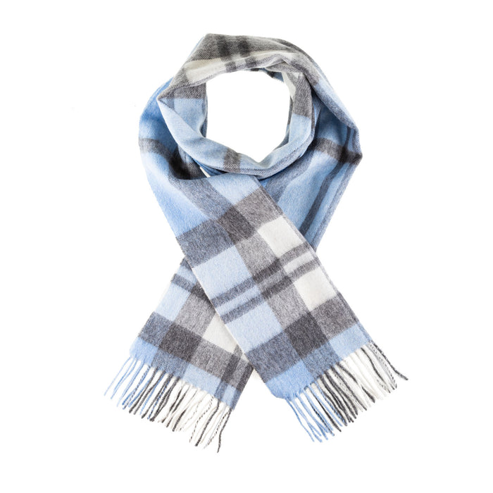 Chequer Tartan 90/10 Cashmere Scarf Bar  Exploded Blue