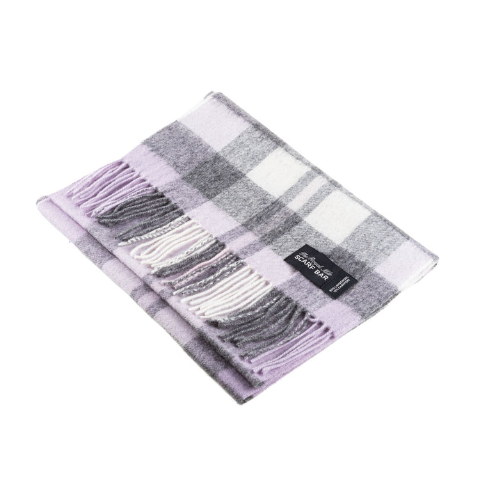 Chequer Tartan 90/10 Cashmere Scarf Bar  Exploded Heather