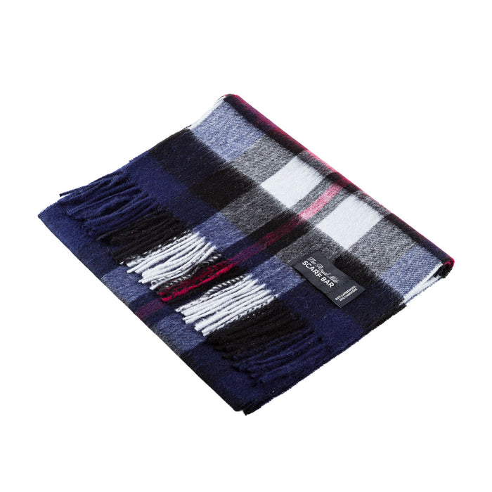 Chequer Tartan 90/10 Cashmere Scarf Bar  Exploded Navy