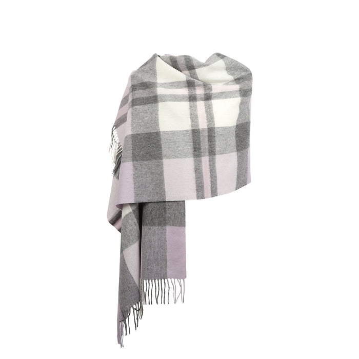 90/10 Tartan Cashmere Blanket Scarf  Exploded Heather
