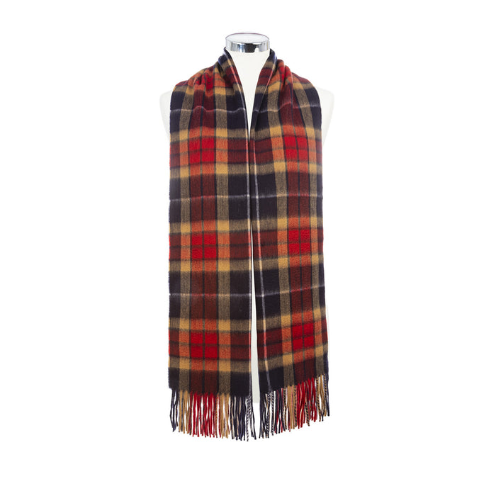 Balmoral 100% Cashmere Woven Stole  Navy/Red