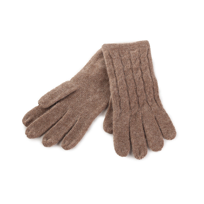 Women's 100% Cashmere Cable Gloves  Brindle