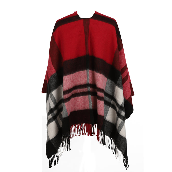 Chequer Tartan 90/10 Cashmere Mini Cape  Exploded Red