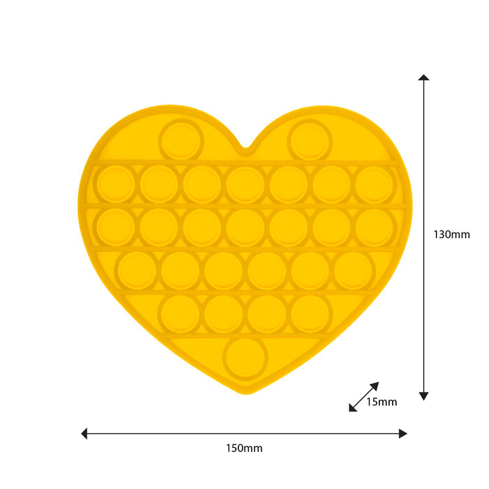 Push Pop Bubble Fidget Toy Heart Yellow