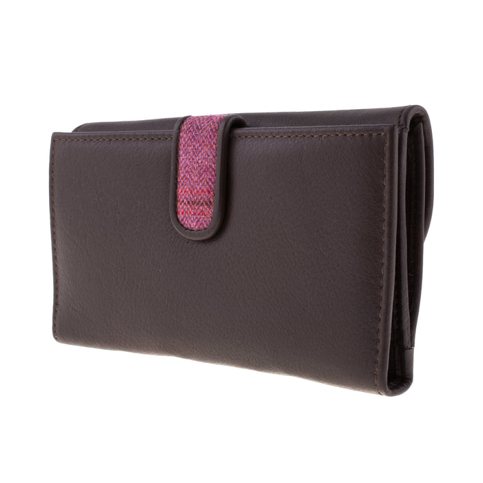 Country Cognac Women's 100% Leather And Tweed Wallet