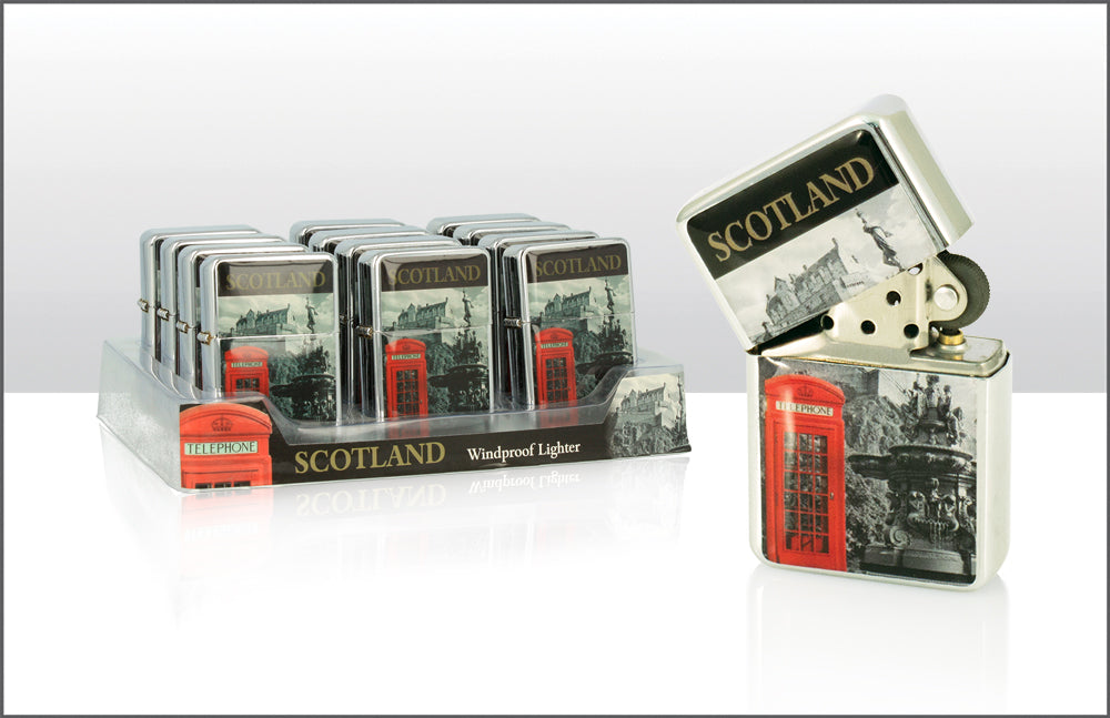 Red Phone Box & Edin Castle Wind Lighter