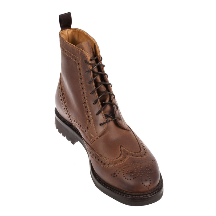Men's Leather Brogue Commado Sole Boot