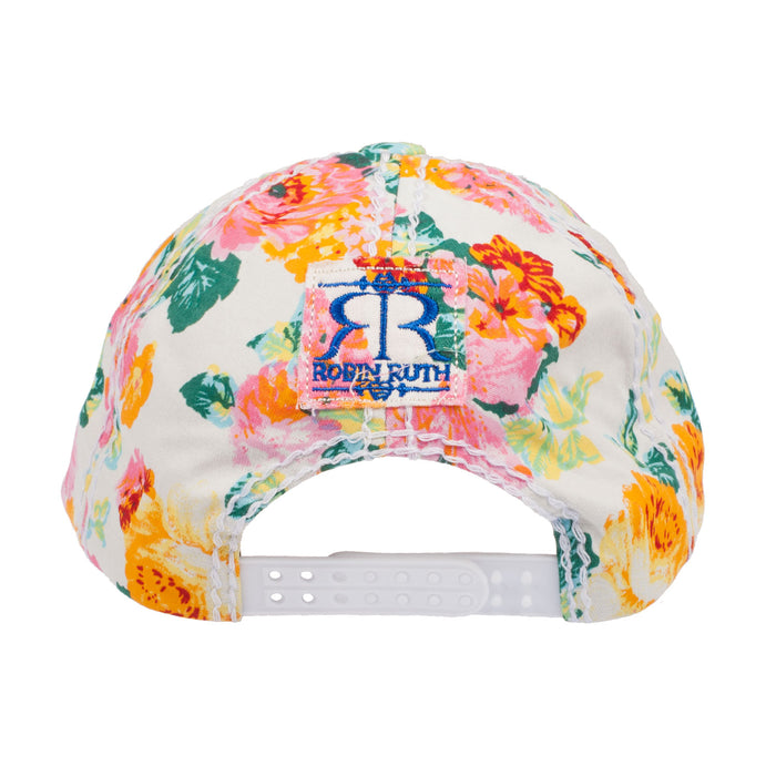 J.J Edinburgh Flower Baseball Cap White