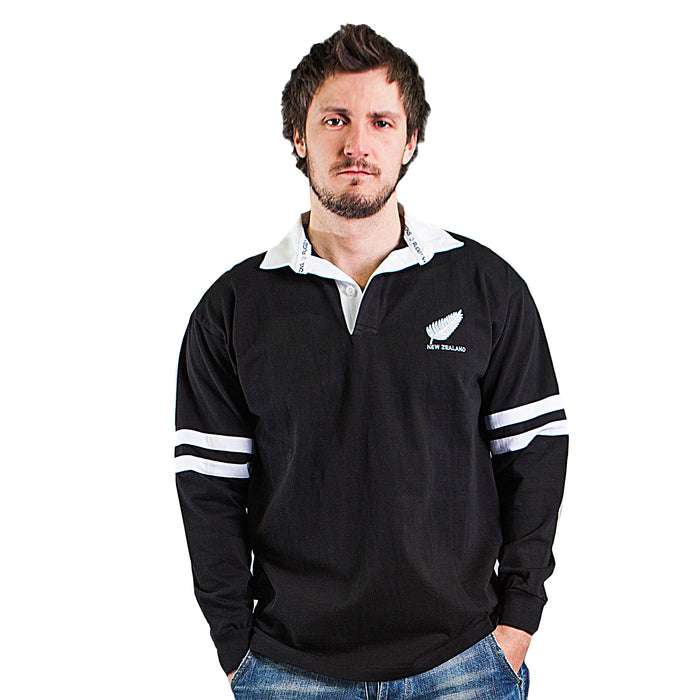 Gents L/S New Zealand 2 Stripe Rugby