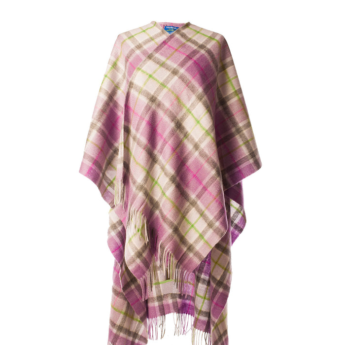 Edinburgh Lambswool Long Tartan Cape  Light Purple Check
