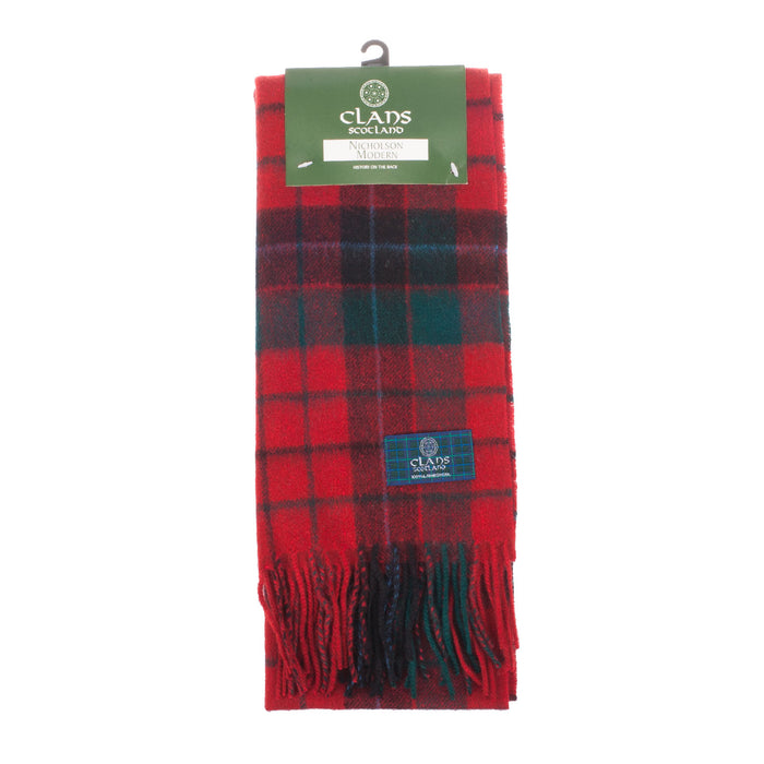 Clans Of Scotland Pure New Wool Scottish Tartan Scarf Nicholson