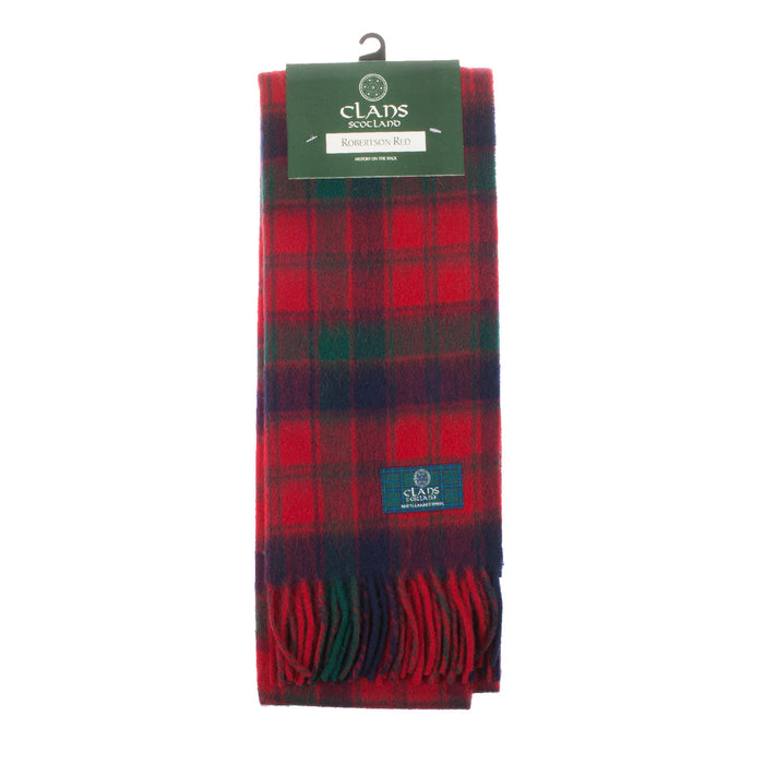Clans Of Scotland Pure New Wool Scottish Tartan Scarf Robertson Red