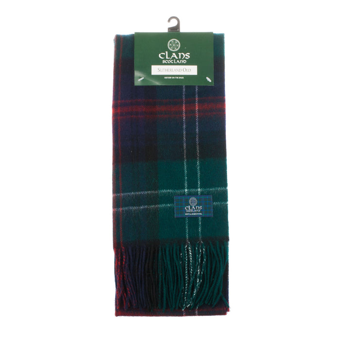 Clans Of Scotland Pure New Wool Scottish Tartan Scarf Sutherland Old
