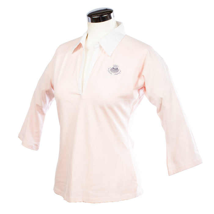 Ladies Skinny Fit Thistle Rugby Top Pink