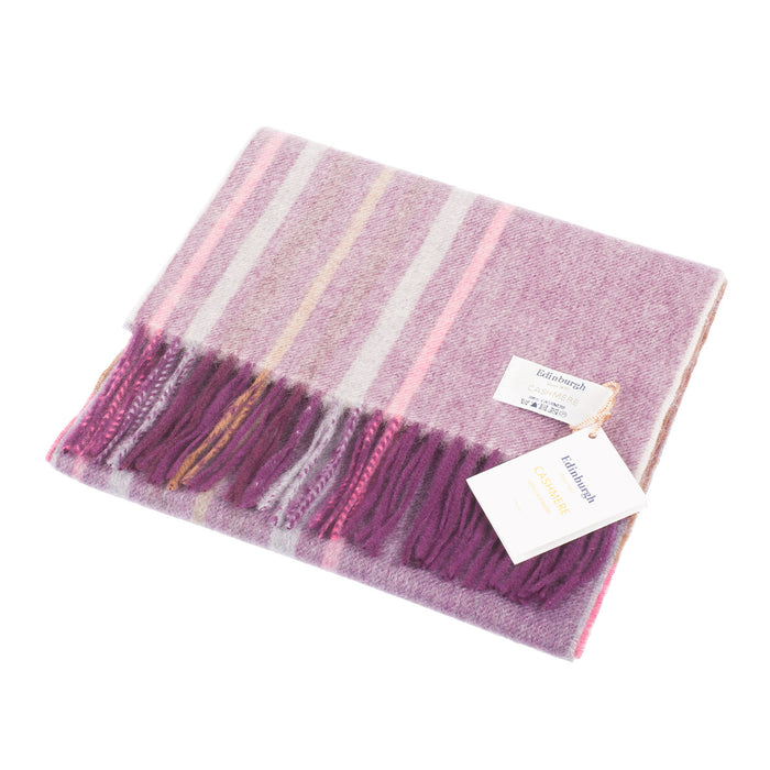 Edinburgh 100% Cashmere Unisex Scottish Tartan Multicolor Scarf Barcode Check - Wineberry