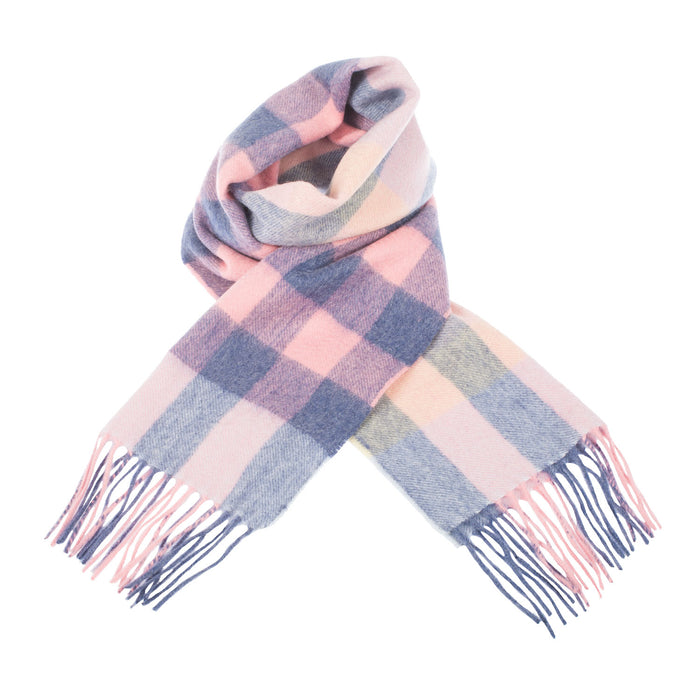 Edinburgh 100% Cashmere Unisex Scottish Tartan Multicolor Scarf Giant Chequer - Summer/Lilac/Pink