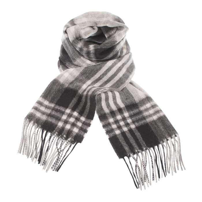 Edinburgh Cashmere Scarf  Jk Check - Black/Silver