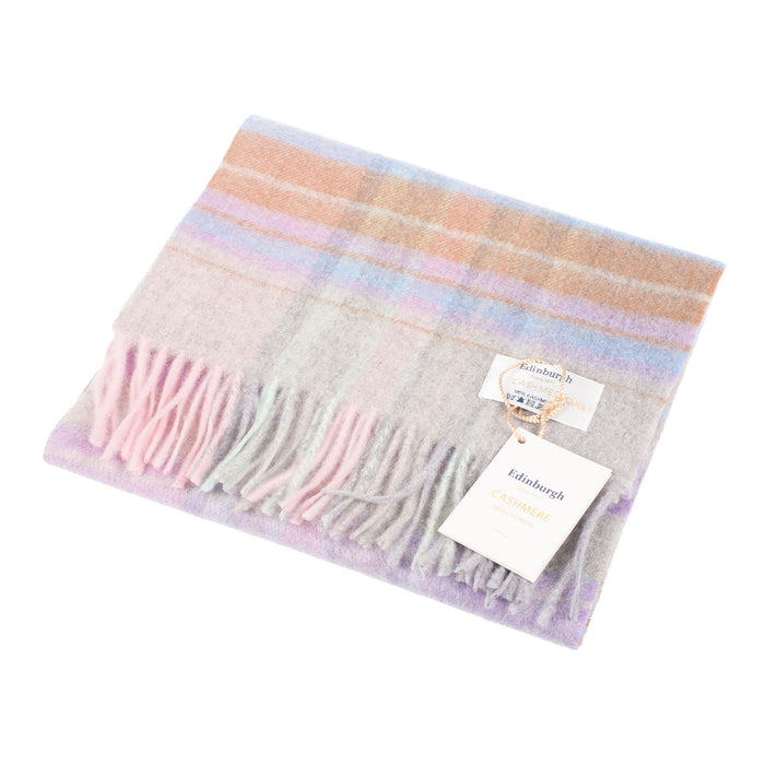 Edinburgh 100% Cashmere Unisex Scottish Tartan Multicolor Scarf Newlan Check Pink/Aqua