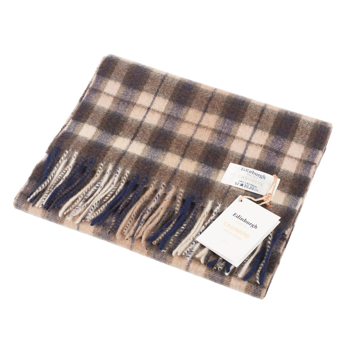 Edinburgh Cashmere Scarf  Winter Check - Black/Brown