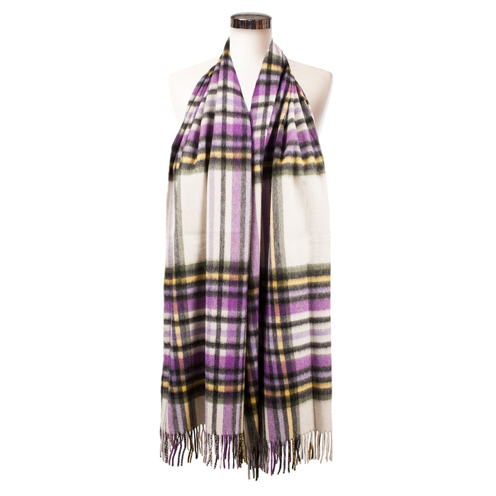 Edinburgh Lambswool Stole  Purple Stewart - Optical/Chive